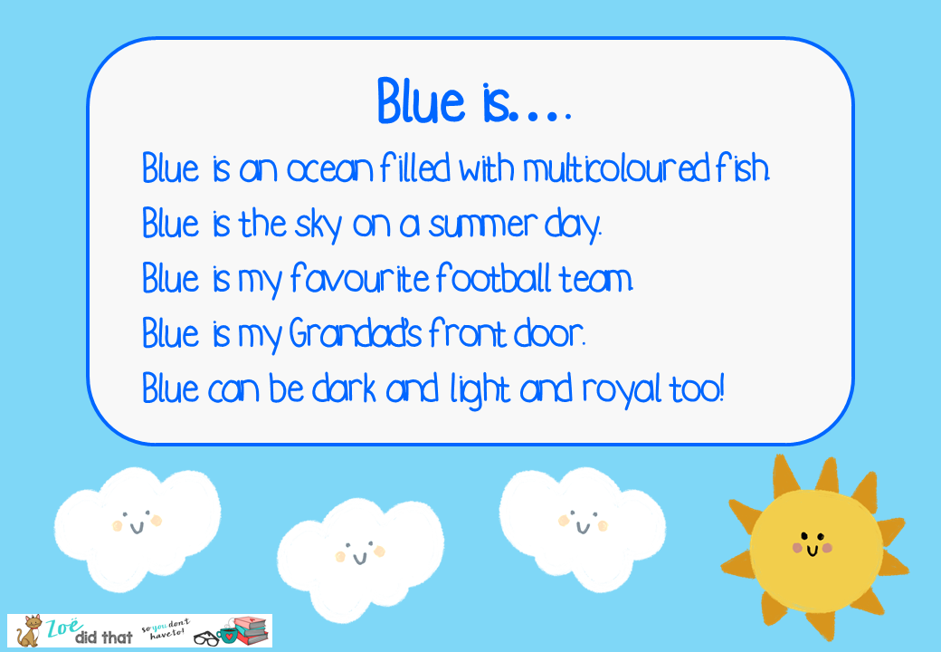 Colour simile poem example from zoedidthat.com/how-to-teach-poetry-ks1